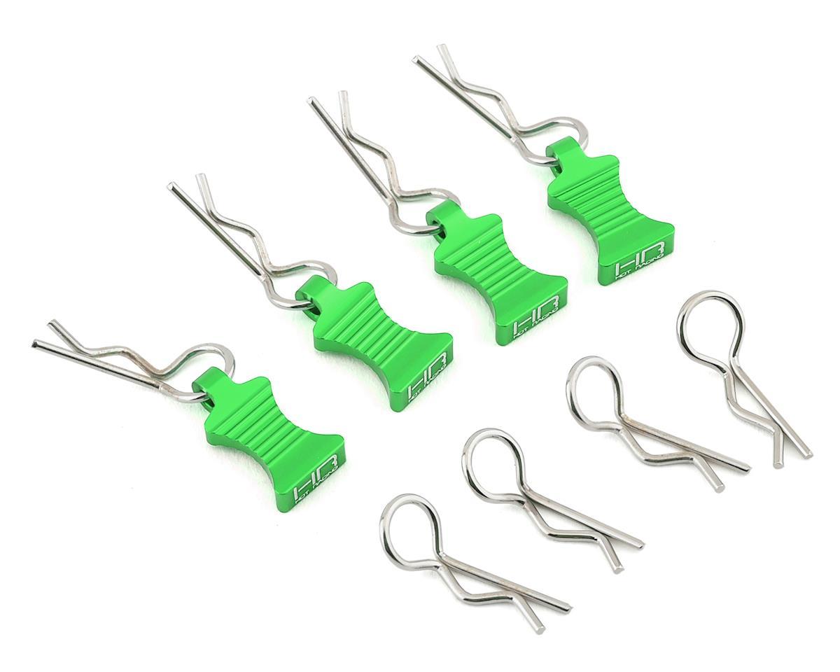 Hot Racing 1/10 Aluminum EZ Pulls w/Body Clips (Green) (4)