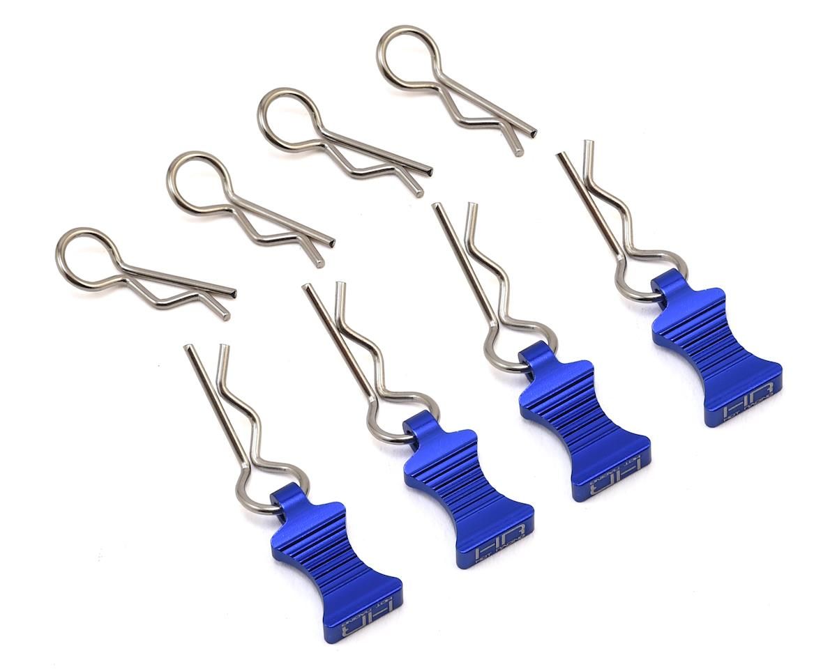 Hot Racing 1/10 Aluminum EZ Pulls w/Body Clips (Blue) (4)