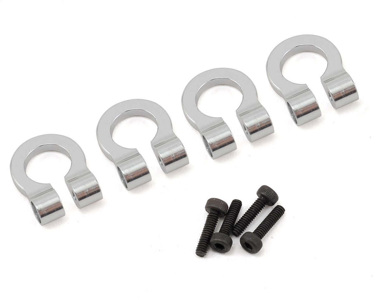 Hot Racing 1/10 Aluminum Tow Shackle D-Rings (Silver) (4)