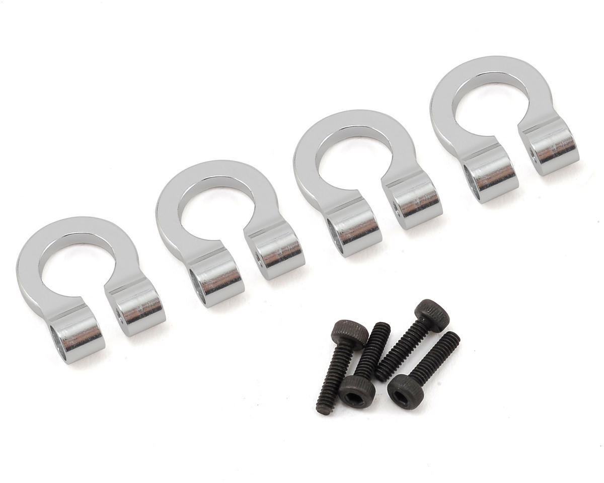 1/10 Aluminum Tow Shackle D-Rings (Silver) (4) by Hot Racing