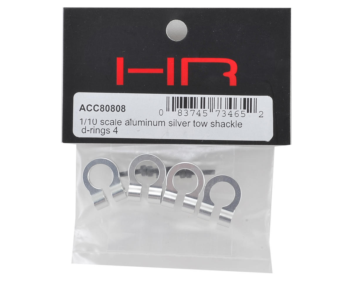 Hot Racing 1//10 Scale Aluminum Silver Tow Shackle D-Rings ACC80808 4