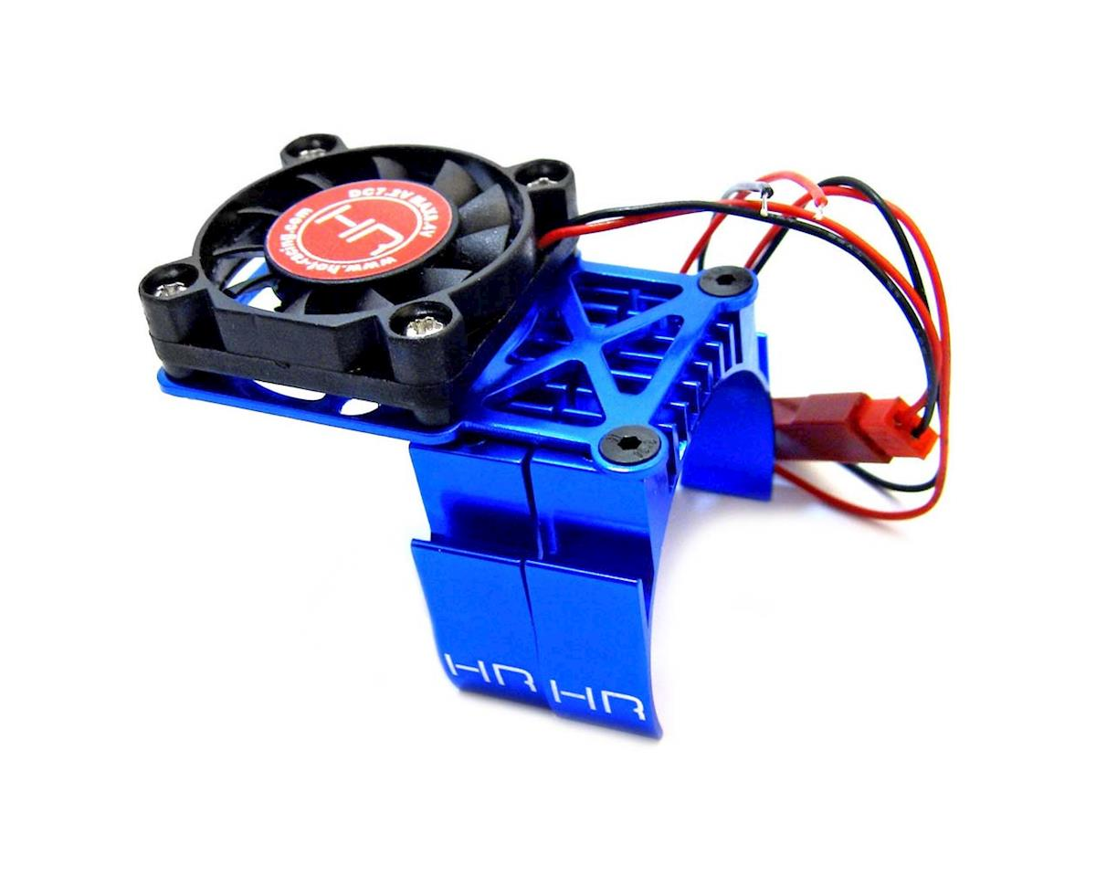 Hot Racing Clip-On Two-Piece Motor Heat Sink w/Fan (Blue)