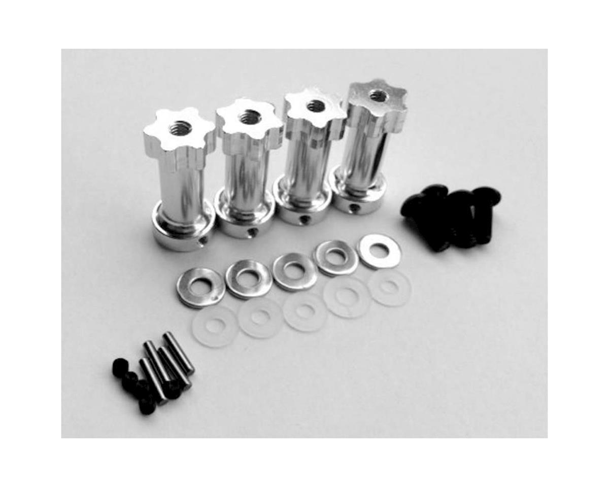 Hot Racing 12mm Hex Aluminum Wheel Widener (Silver) (4) (25mm Extension)