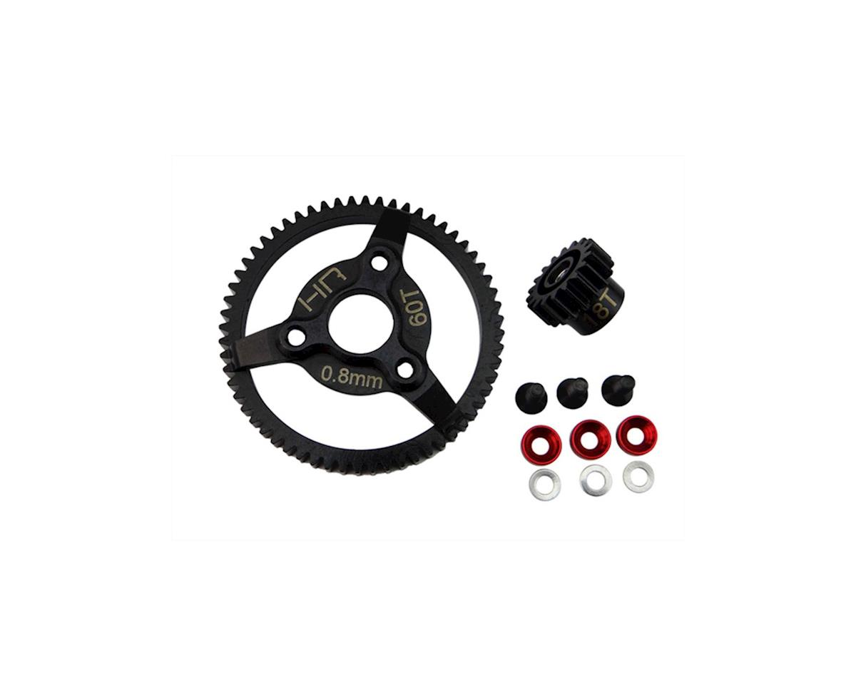 0.8MOD 32P Brushless Steel Gear Kit (18/60T) (Red) by Hot Racing
