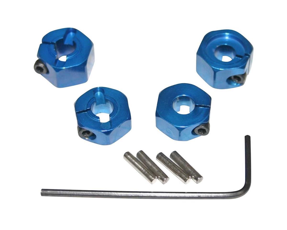 Hot Racing 12mm Traxxas 2WD Aluminum Wheel Hexes (Blue) (4)