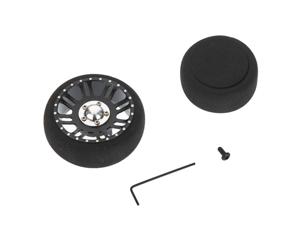 Hot Racing Aluminum Steering Wheel Black/Silver (2 foam