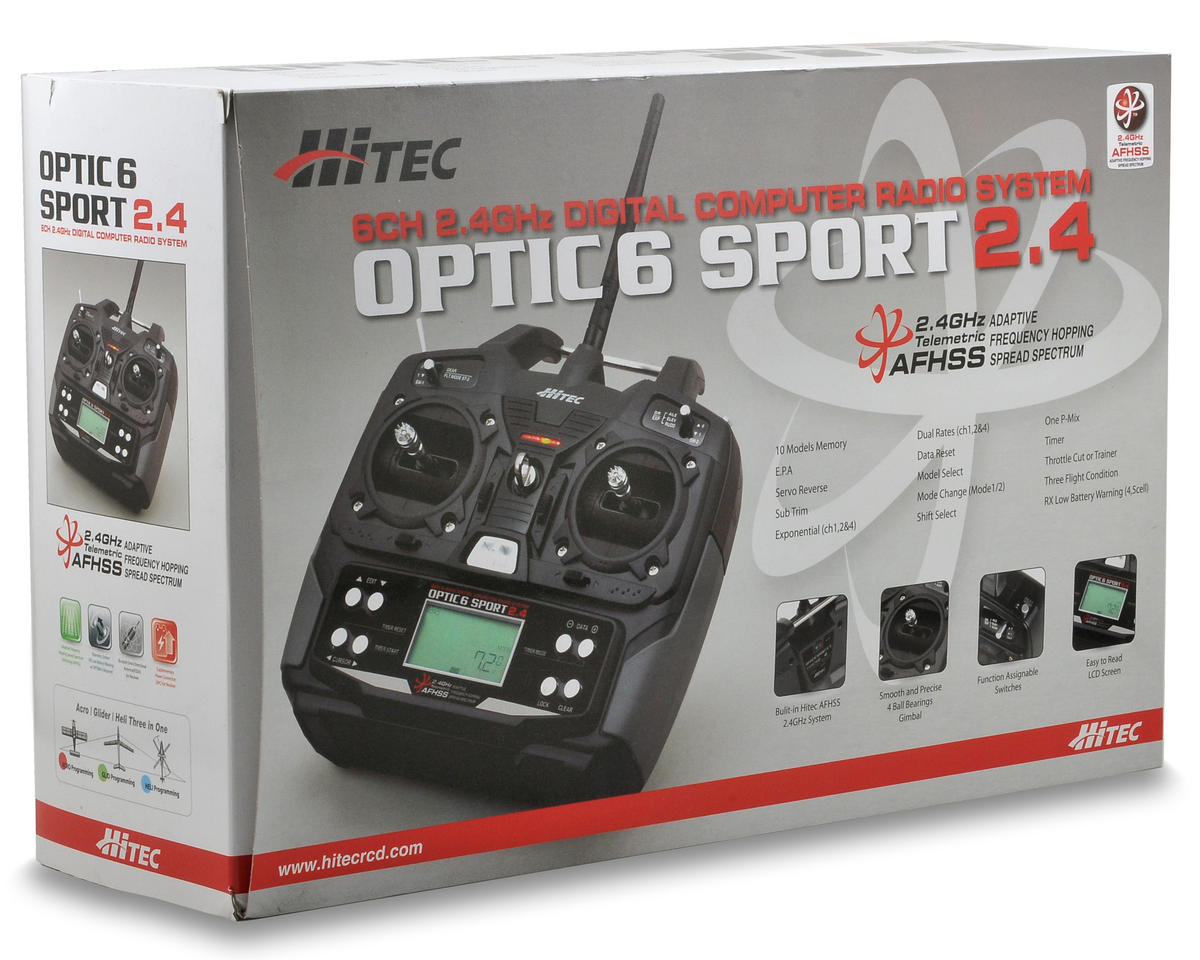 Hitec Optic 6 Sport 2.4GHZ Transmitter w/Optima 6 Receiver & 4: HS-325BB Servos