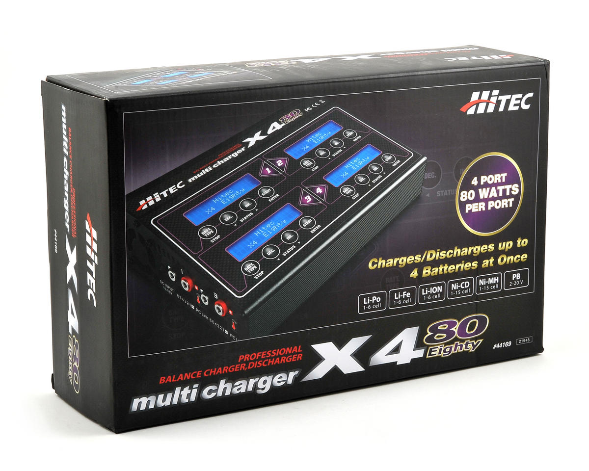 Hitec X4-Eighty Four-Channel DC Multi-Charger (6S/6A/80W x 4)