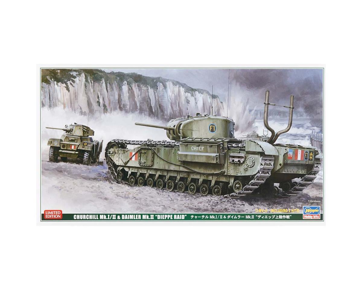 30043 1/72 Churchill Tank/Armor Car Dieppe Raid (2 kits by Hasegawa