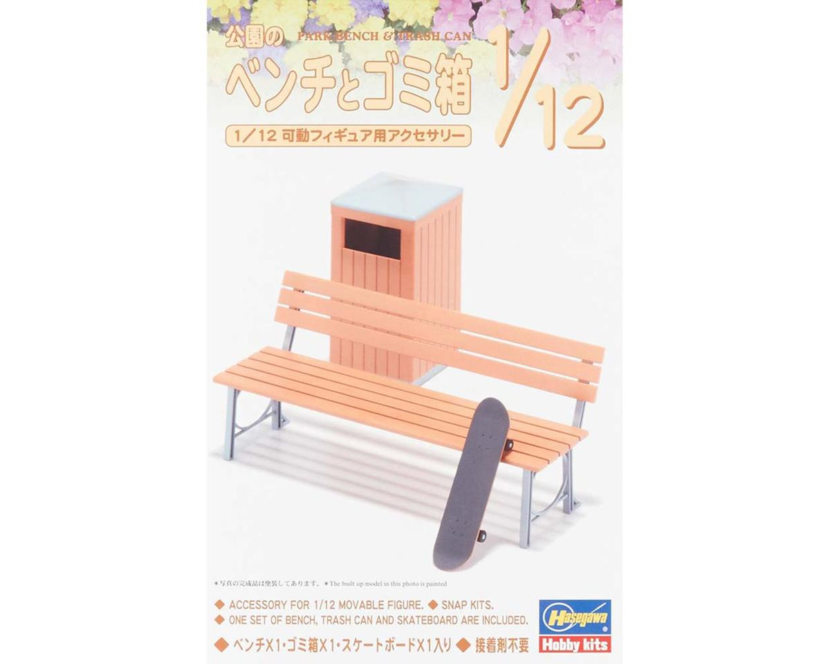 Hasegawa 62010 1/12 Park Bench and Trash Can