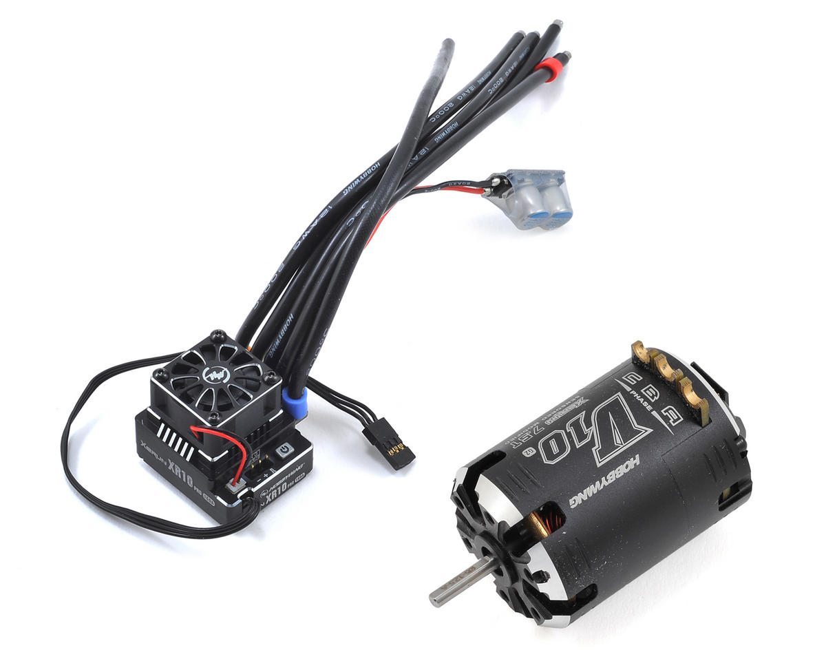 XR10 Pro Sensored Brushless ESC/V10 Motor Combo (7.5T) by Hobbywing