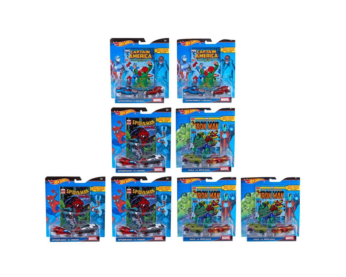 DJC96 1/64 Marvel 2PK Cars + Comic (8) by Hot Wheels