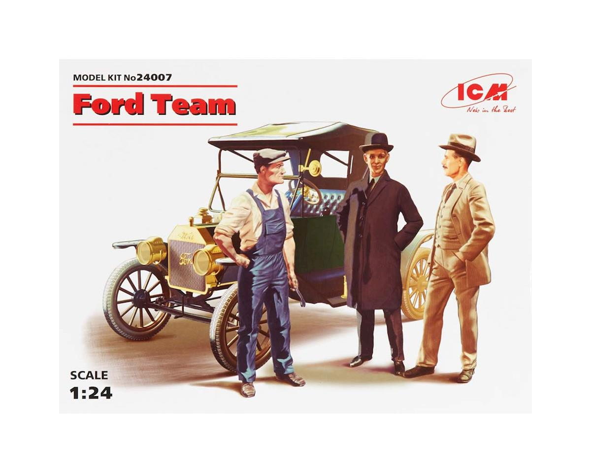 ICM 1/24 Ford Team Model T 1913 Roadster w/3 Figs