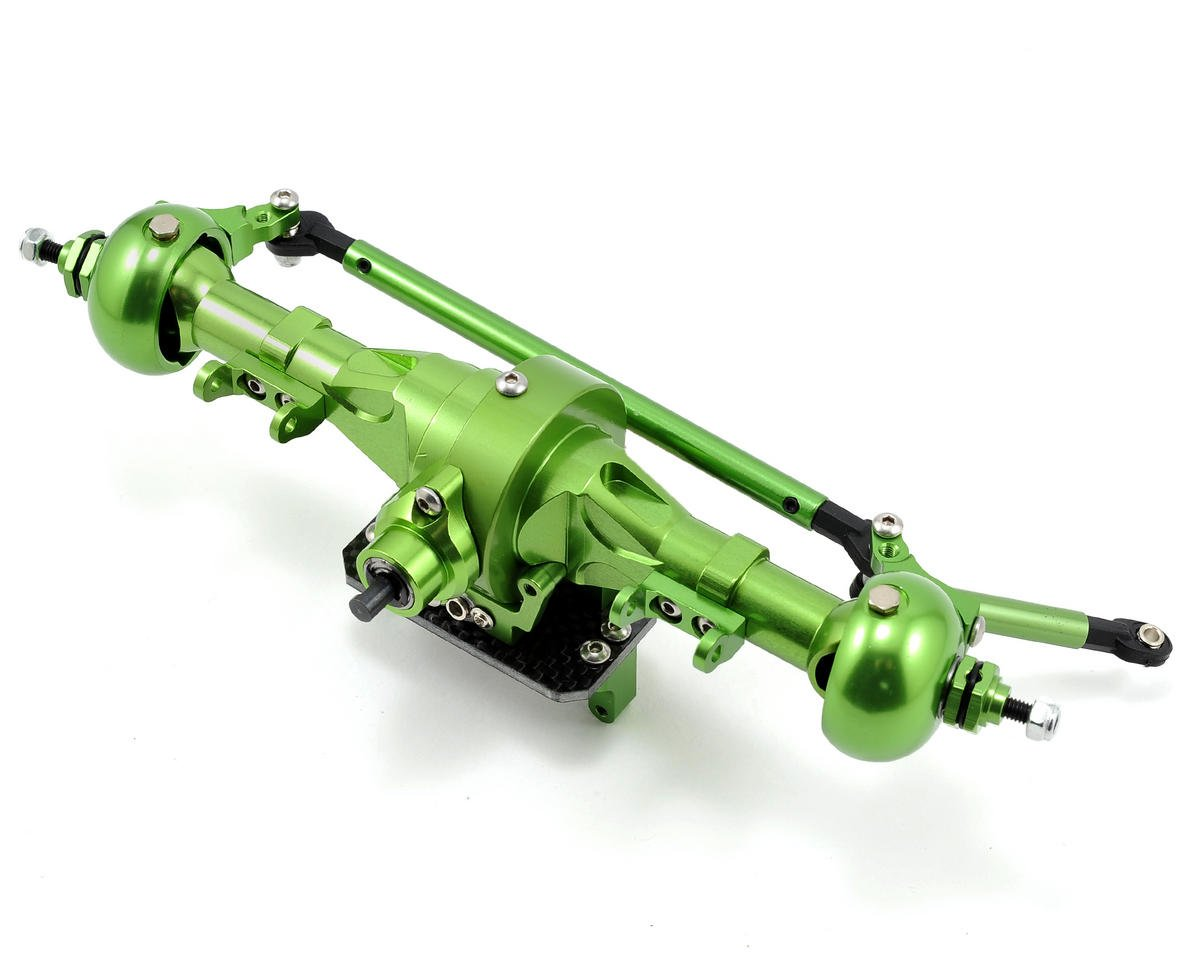 Complete Alloy Front Axle (Green) by Team Integy (Axial AX10)