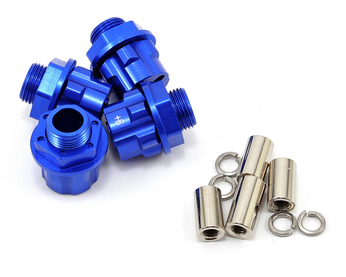 17mm Aluminum Hex Wheel Hub Set (Blue) (4) (+6mm Offset) by Team Integy