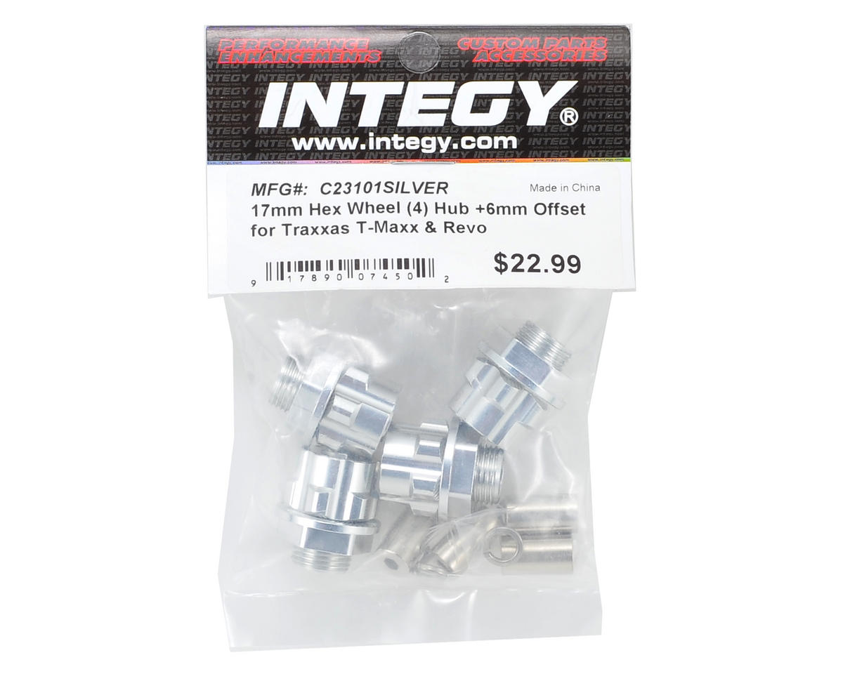 Team Integy 17mm Aluminum Hex Wheel Hub Set (Silver) (4) (+6mm Offset)
