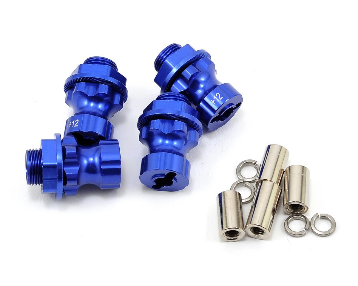 17mm Aluminum Hex Wheel Hub Set (Blue) (4) (+12mm Offset) by Team Integy