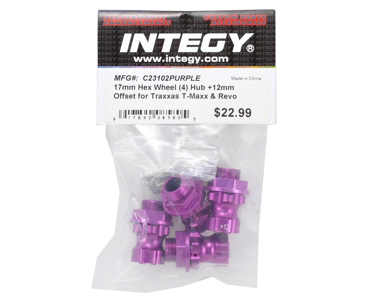 17mm Aluminum Hex Wheel Hub Set (Purple) (4) (+12mm Offset) by Team Integy