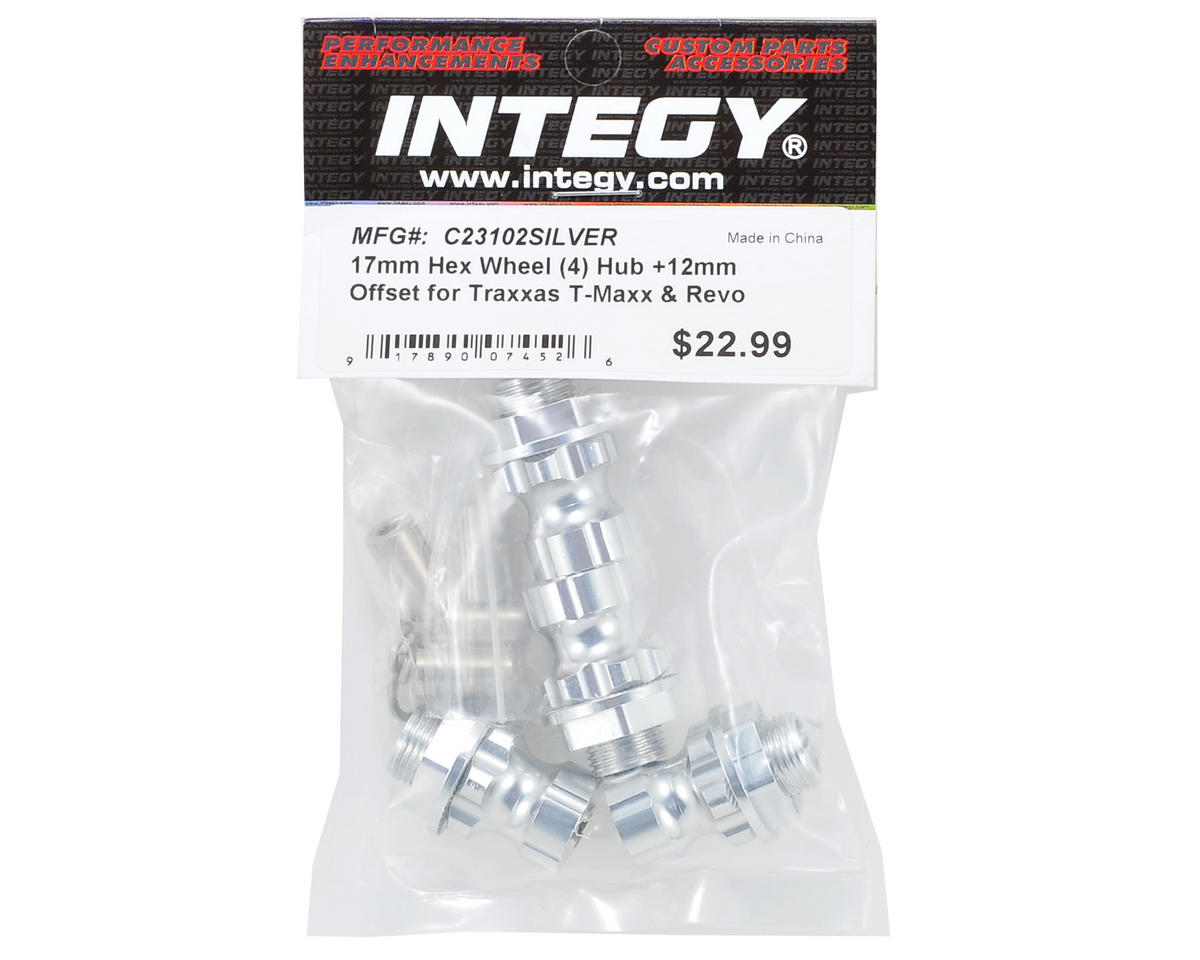 Team Integy 17mm Aluminum Hex Wheel Hub Set (Silver) (4) (+12mm Offset)