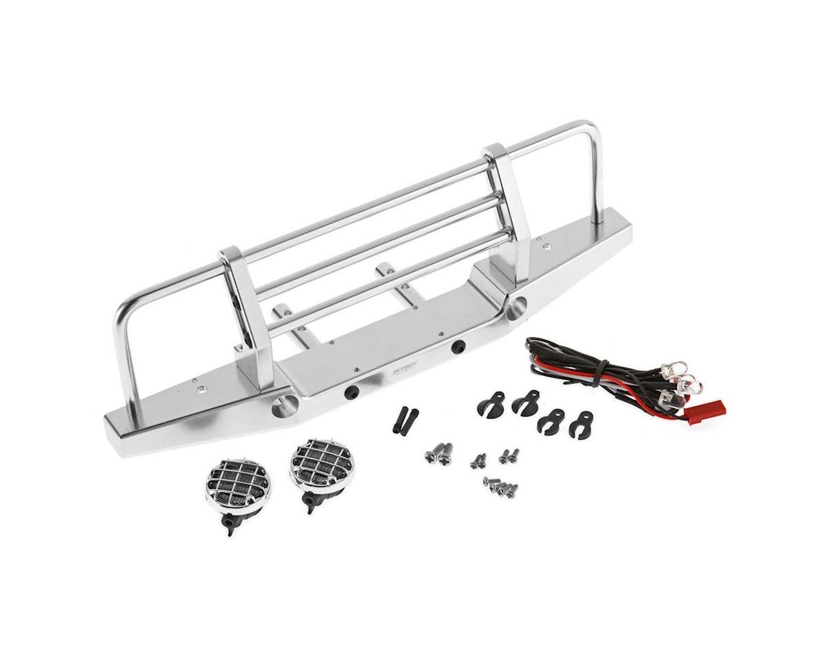 Team Integy C26375SILVER Metal Fr Bumper w/LED AXI SCX-10 43mm Mnt