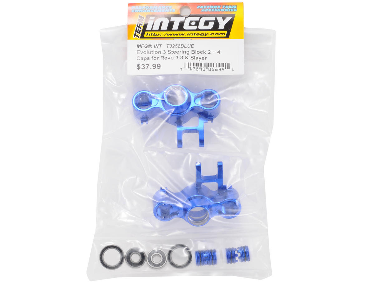 Evo3 Aluminum Steering Block Set (Blue) by Team Integy
