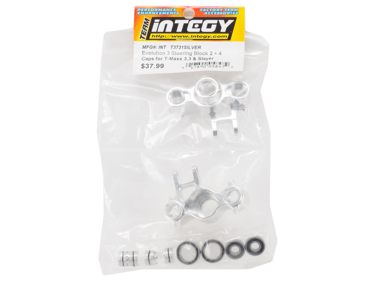 Team Integy Evo3 Steer Block 2+4 Caps (Silver)