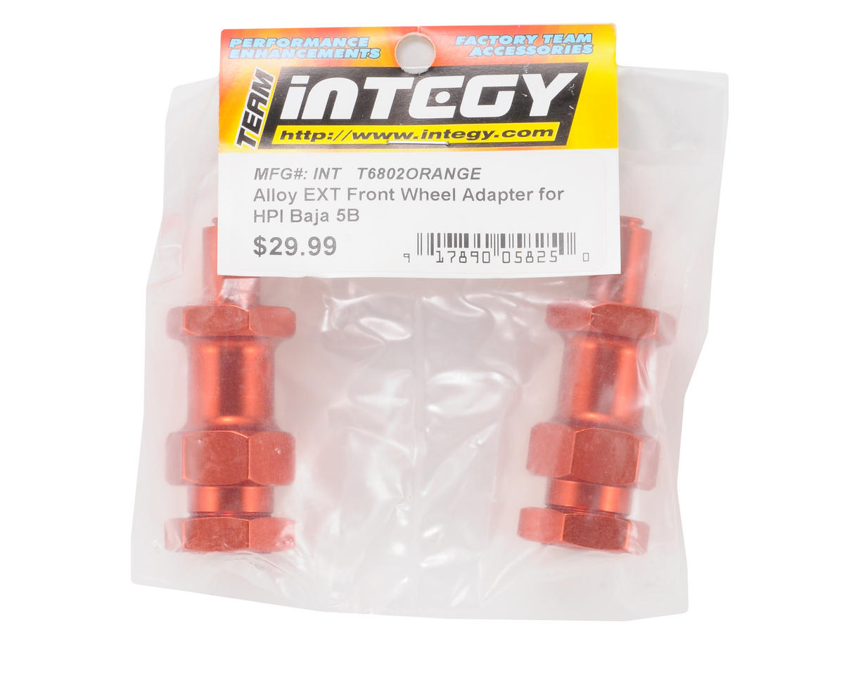Team Integy Aluminum Extended Front Wheel Adapter Set (Orange) (2)