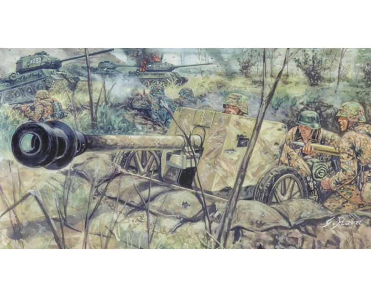 1/72 WWII German Pak40 AT Gun w/6 Troops by Italeri Models