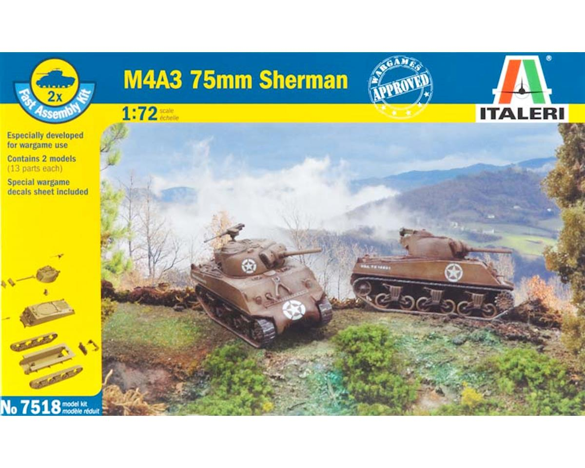 Italeri 1//72 M4A3 75mm Sherman 2 fast assembly kits # 7518