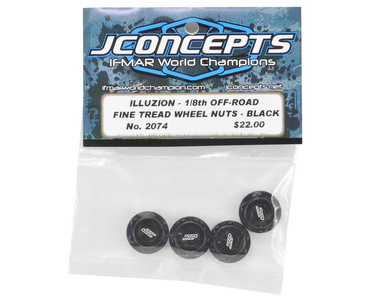JConcepts Illuzion 17mm Lightweight Closed End Fine Thread Wheel Nut (Black) (4)
