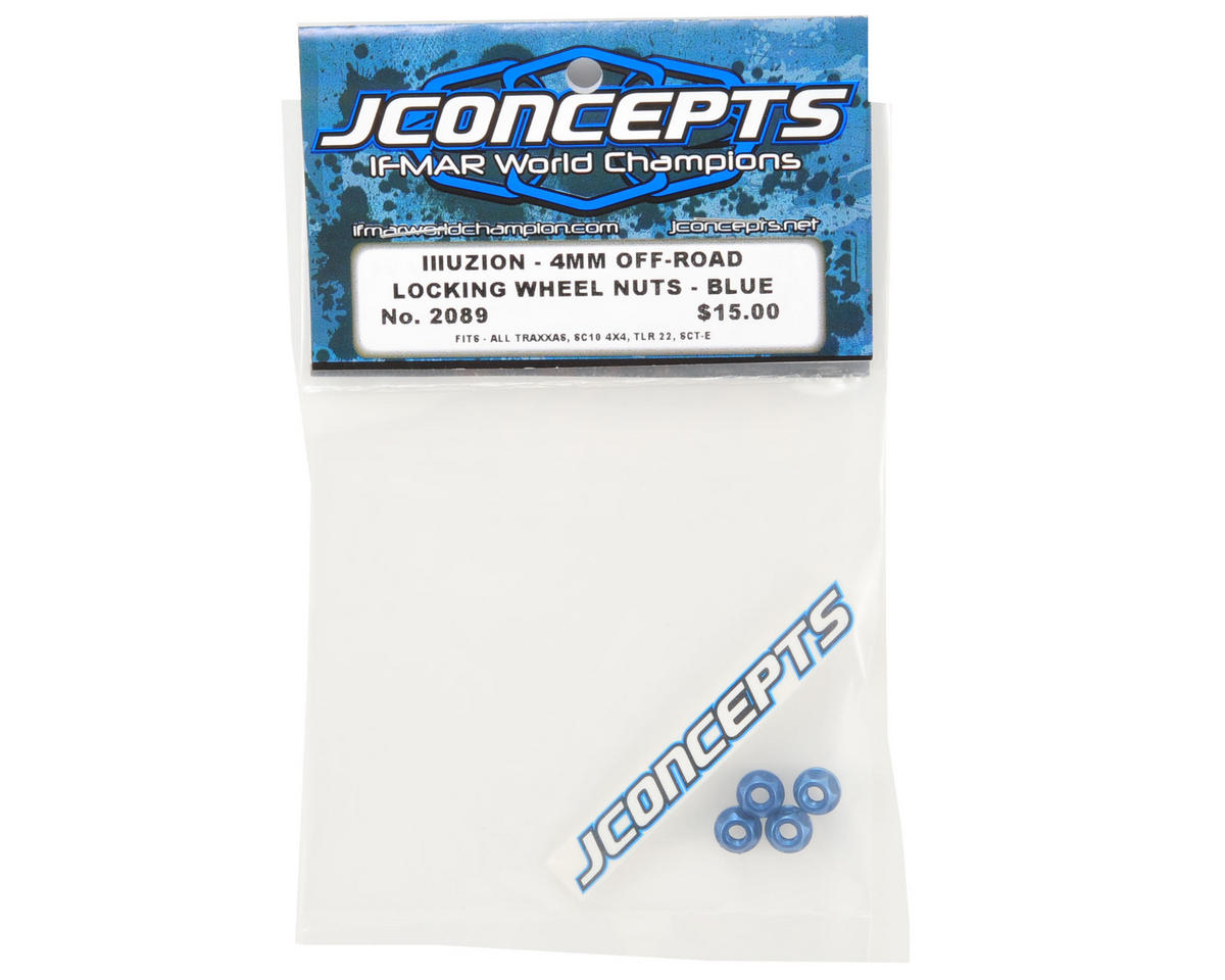 JConcepts 4mm Lightweight Locking Wheel Nut Set (Blue) (4)
