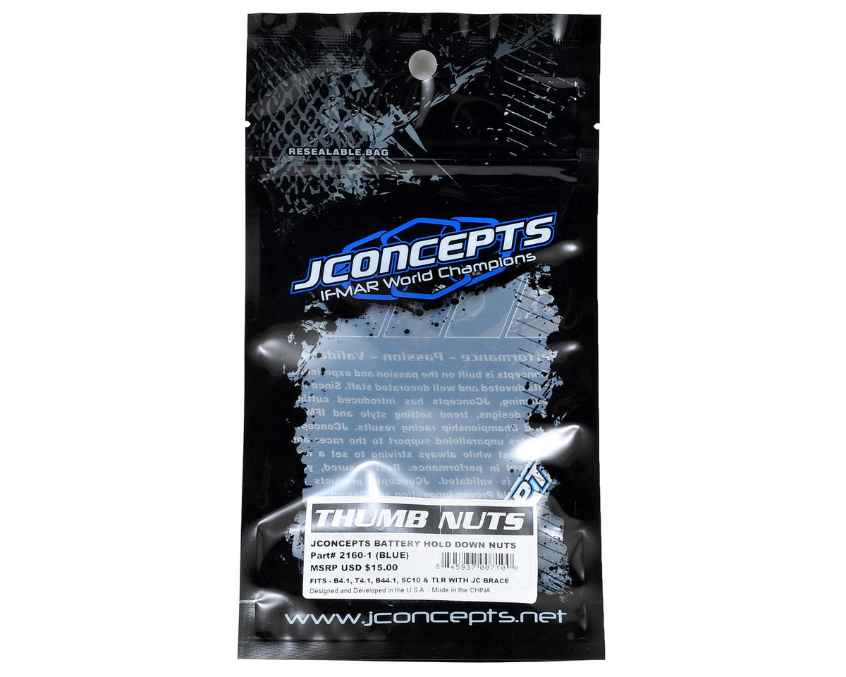 JConcepts Battery Hold Down Nuts (Blue) (4)