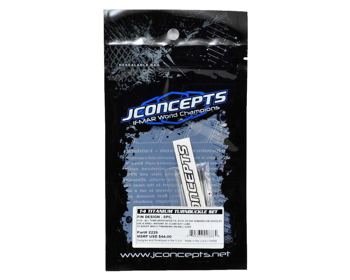 JConcepts T4/SC10 Generation Fin Titanium Turnbuckle Set (6)