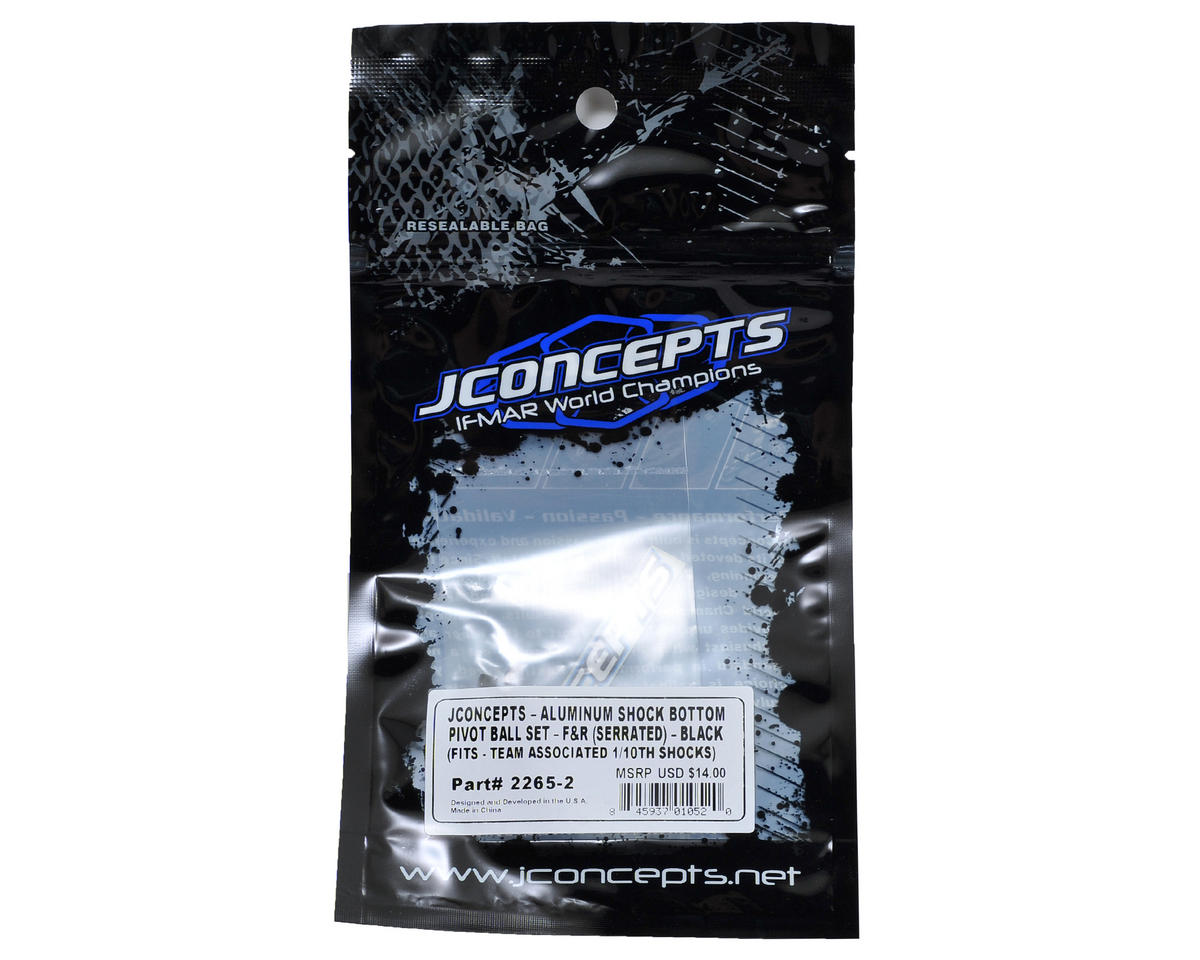 Aluminum Serrated Shock Bottom Pivot Ball Set (Black) by JConcepts