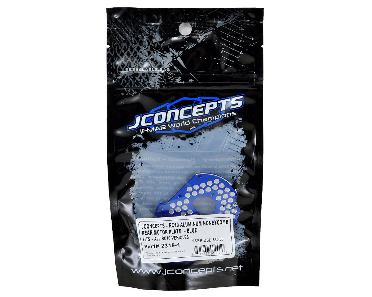 RC10 Classic Aluminum Honeycomb Rear Motor Plate (Blue) by JConcepts