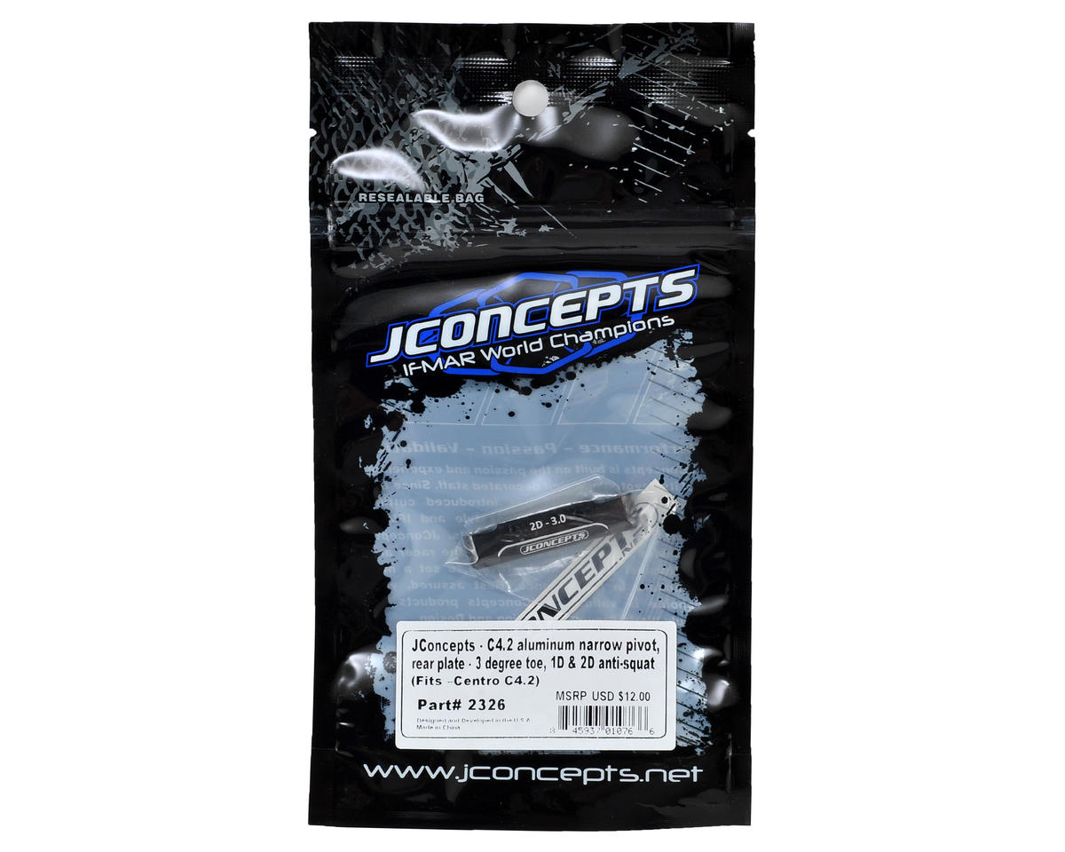 JConcepts C4.2 Aluminum Narrow Pivot Rear Plate (3 Deg Toe, 1° & 2° Anti-Squat)