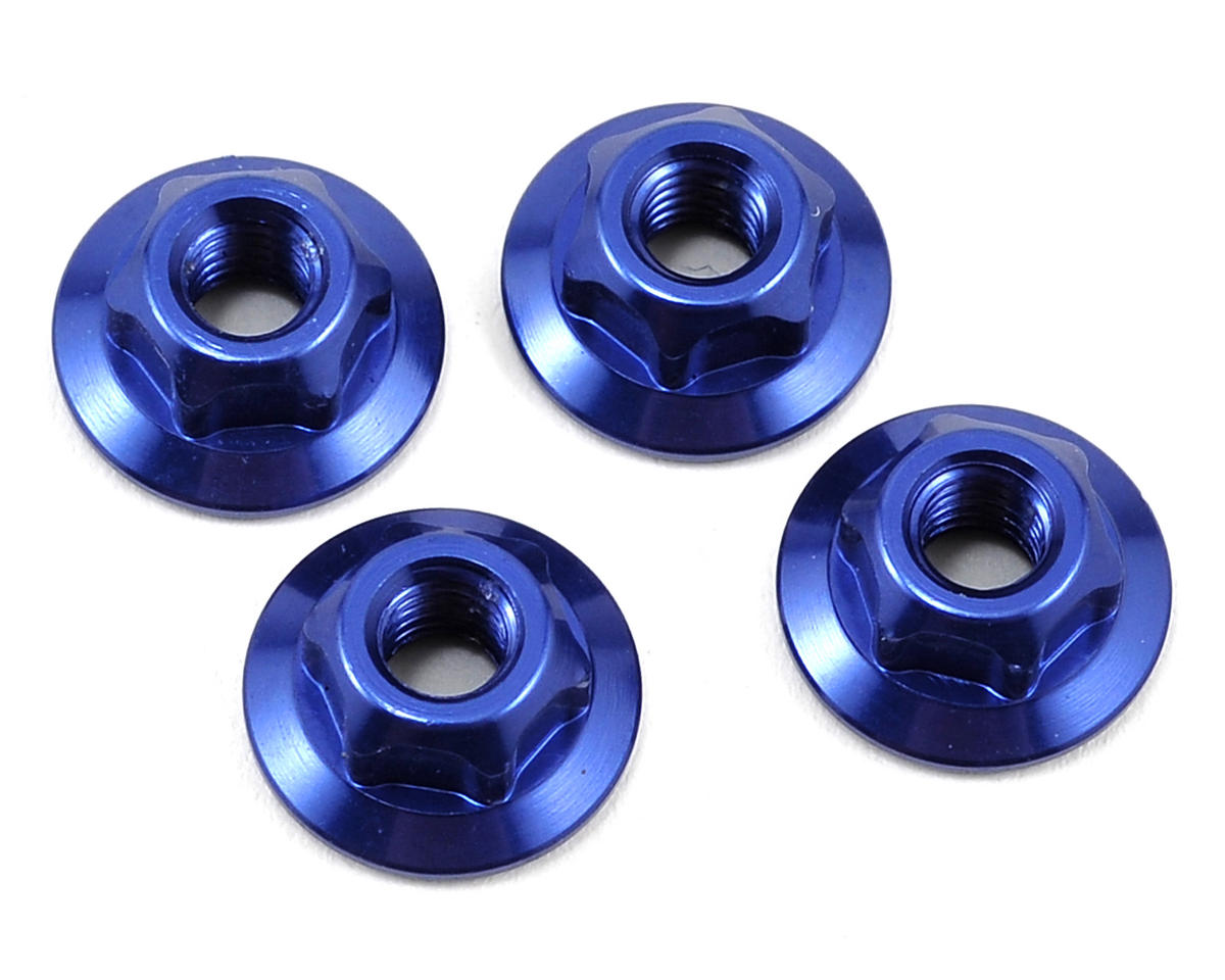 JConcepts 4mm Large Flange Serrated Locking Wheel Nut Set (4) (Blue)