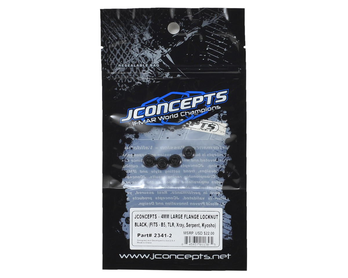 JConcepts 4mm Large Flange Serrated Locking Wheel Nut Set (4) (Black)