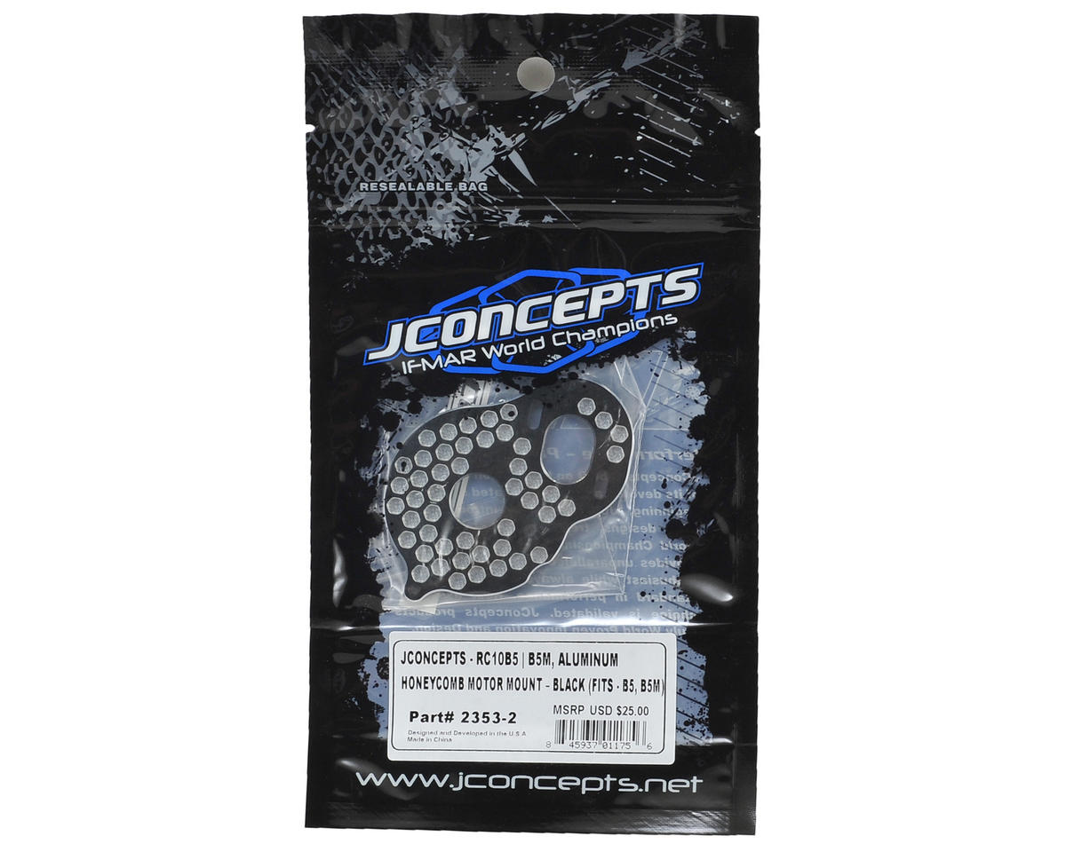 JConcepts B5/B5M Aluminum Honeycomb Rear Motor Mount (Black) (4-Gear & B5)