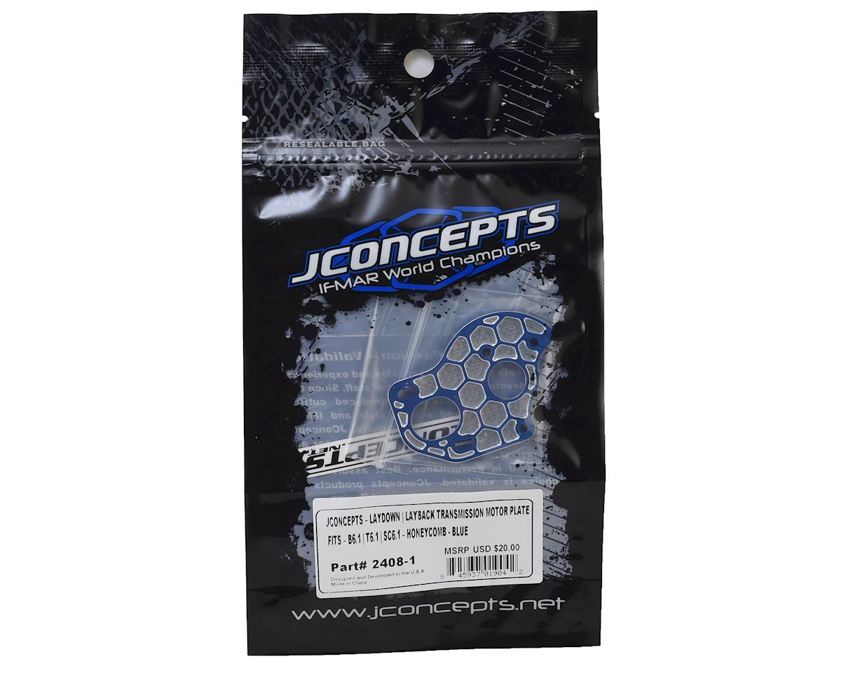 "JConcepts B6.1/B6.1D Aluminum ""3 Gear"" Layback Honeycomb Motor Plate (Blue)"