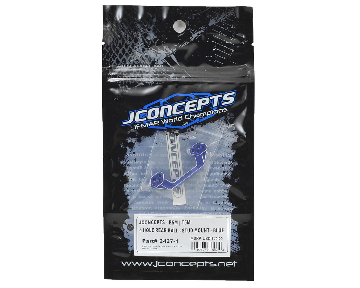 JConcepts B5M Aluminum 4-Hole Rear Camber Link Mount (Blue)