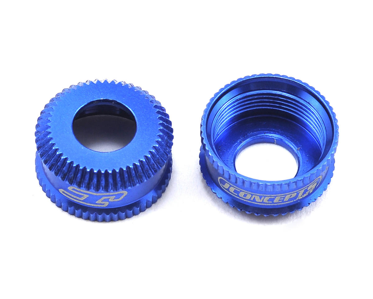 JConcepts Fin Aluminum VCS Shock Bottom Cap (Blue) (2) (Team Associated TC6.2)