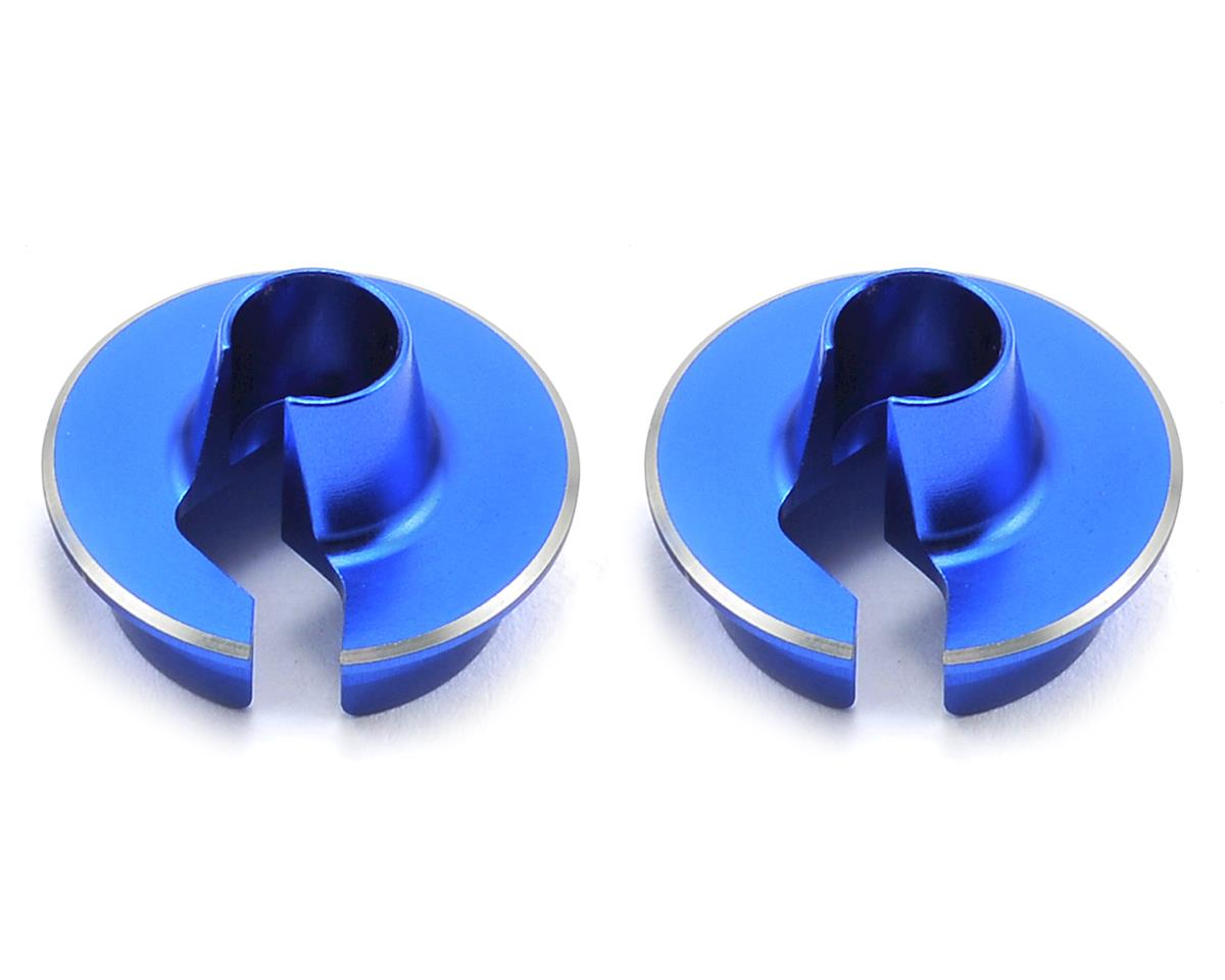 JConcepts Fin Aluminum +5mm Off-Set Shock Spring Cup (Blue) (2)