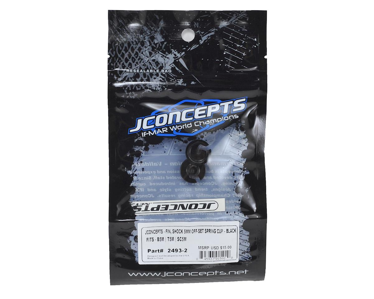 JConcepts Fin Aluminum +5mm Off-Set Shock Spring Cup (Black) (2)