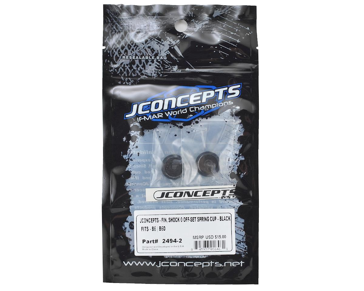 JConcepts Fin Aluminum 0mm Off-Set Shock Spring Cup (Black) (2)
