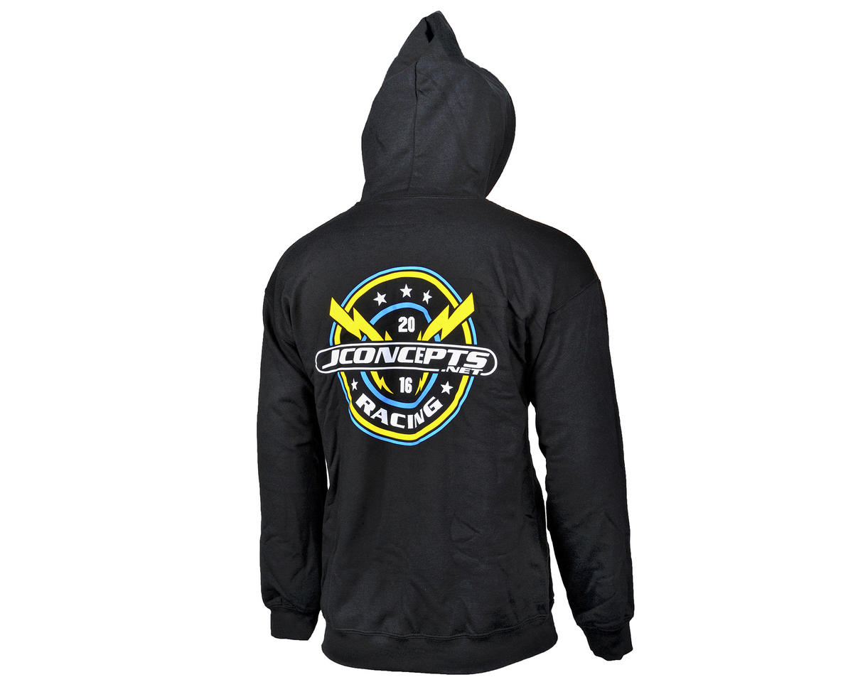 JConcepts Lightning Bolt 2016 Team Black Zipper Hoodie Sweatshirt (2XL)