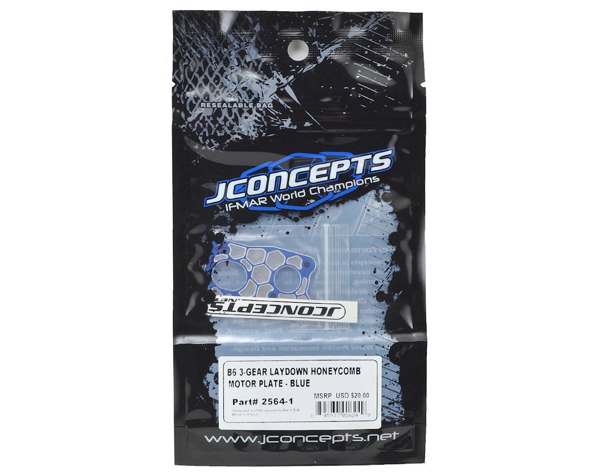 JConcepts Associated B6 'Honeycomb' 3 Gear Laydown Motor Plate (Blue)