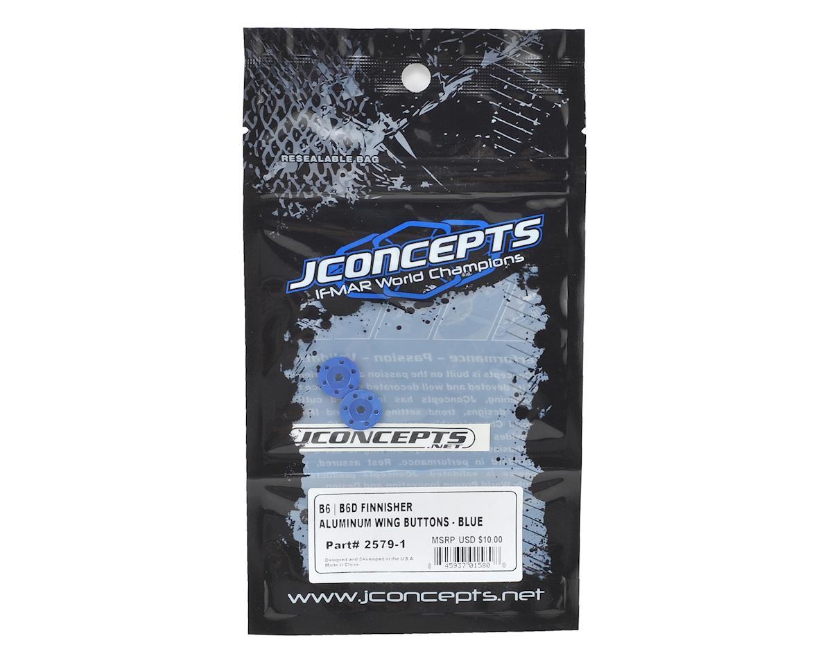 """JConcepts Aluminum B6/B6D """"Finnisher"""" Wing Buttons (Blue) (2)"""