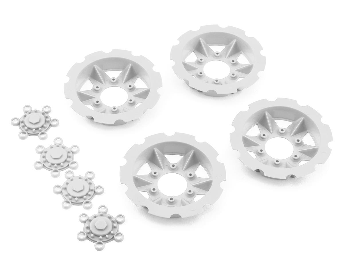 """JConcepts """"Tracker"""" Monster Truck Wheel Mock Beadlock Rings (White) (4)"""