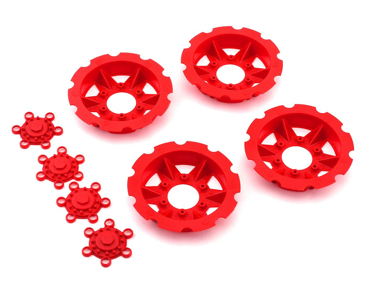 "JConcepts ""Tracker"" Monster Truck Wheel Mock Beadlock Rings (Red) (4)"
